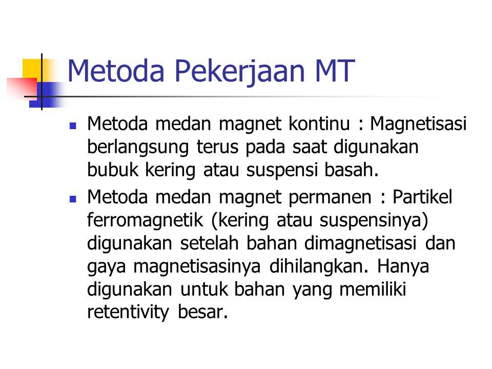 Metoda Pekerjaan MT Metoda medan magnet kontinu : Magnetisasi berlangsung terus pada saat digunakan bubuk kering atau suspensi basah. Metoda medan mag