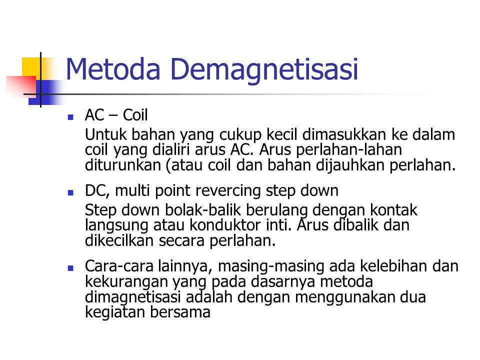 Metoda Demagnetisasi AC – Coil Untuk bahan yang cukup kecil dimasukkan ke dalam coil yang dialiri arus AC. Arus perlahan-lahan diturunkan (atau coil d
