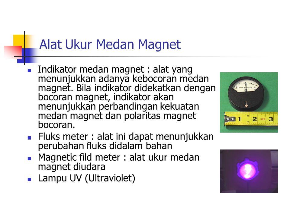 Alat Ukur Medan Magnet Indikator medan magnet : alat yang menunjukkan adanya kebocoran medan magnet. Bila indikator didekatkan dengan bocoran magnet,