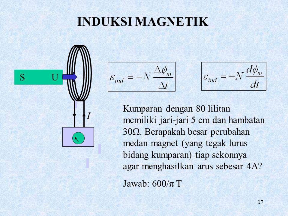 17 INDUKSI MAGNETIK S U I Kumparan dengan 80 lilitan memiliki jari-jari 5 cm dan hambatan 30Ω. Berapakah besar perubahan medan magnet (yang tegak luru