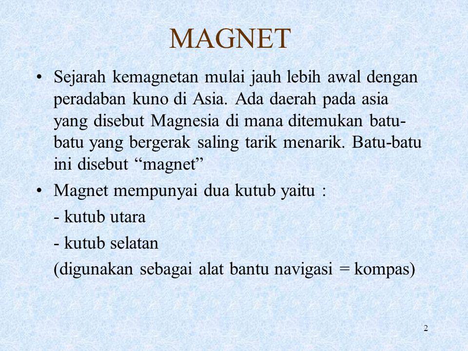 2 MAGNET Sejarah kemagnetan mulai jauh lebih awal dengan peradaban kuno di Asia. Ada daerah pada asia yang disebut Magnesia di mana ditemukan batu- ba