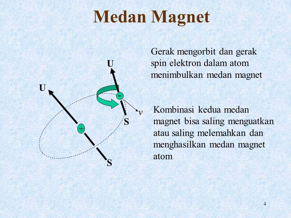 5 Domain Magnetik Pada besi medan magnet atomnya sangat kuat sehingga atom-atom besi yang berdekatan membentuk domain magnetik dengan medan magnet yang cenderung searah Tiap domain magnetik mengandung milyaran atom.