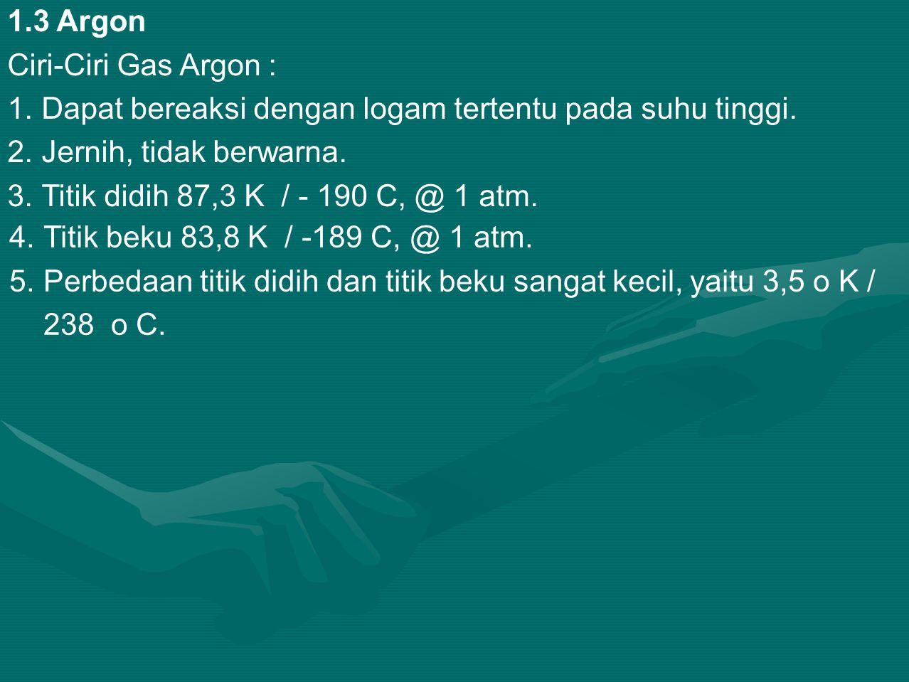 1.3 Argon Ciri-Ciri Gas Argon : 1.Dapat bereaksi dengan logam tertentu pada suhu tinggi.