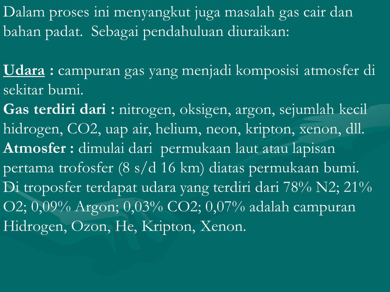 Gas komersial untuk keperluan industri antara lain N2, O2, Argon.