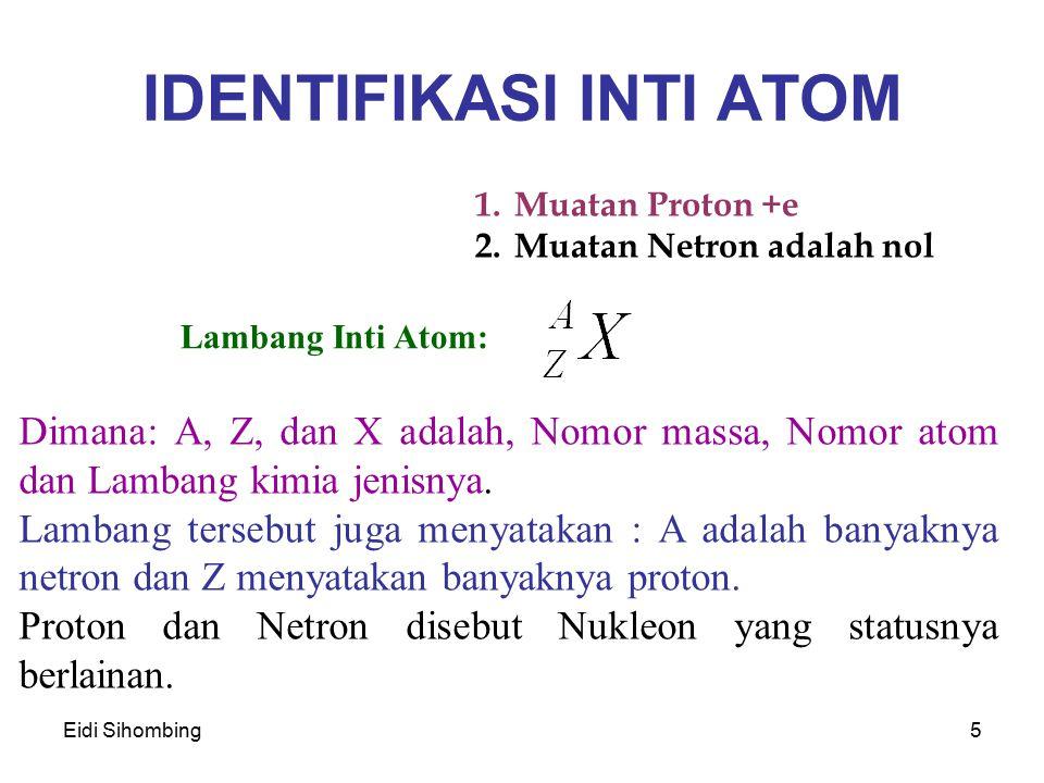 Eidi Sihombing5 IDENTIFIKASI INTI ATOM 1.Muatan Proton +e 2.Muatan Netron adalah nol Lambang Inti Atom: Dimana: A, Z, dan X adalah, Nomor massa, Nomor