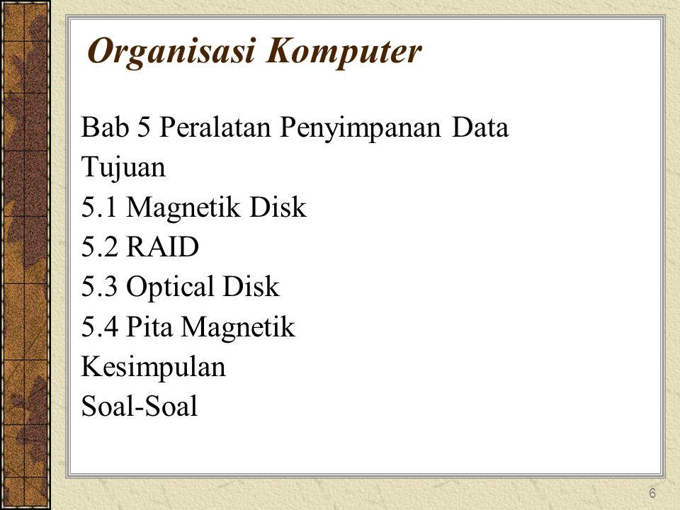 6 Organisasi Komputer Bab 5 Peralatan Penyimpanan Data Tujuan 5.1 Magnetik Disk 5.2 RAID 5.3 Optical Disk 5.4 Pita Magnetik Kesimpulan Soal-Soal