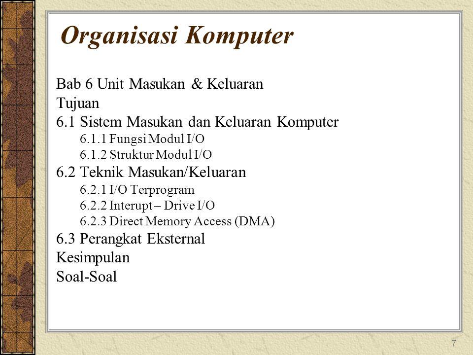 7 Organisasi Komputer Bab 6 Unit Masukan & Keluaran Tujuan 6.1 Sistem Masukan dan Keluaran Komputer 6.1.1 Fungsi Modul I/O 6.1.2 Struktur Modul I/O 6.