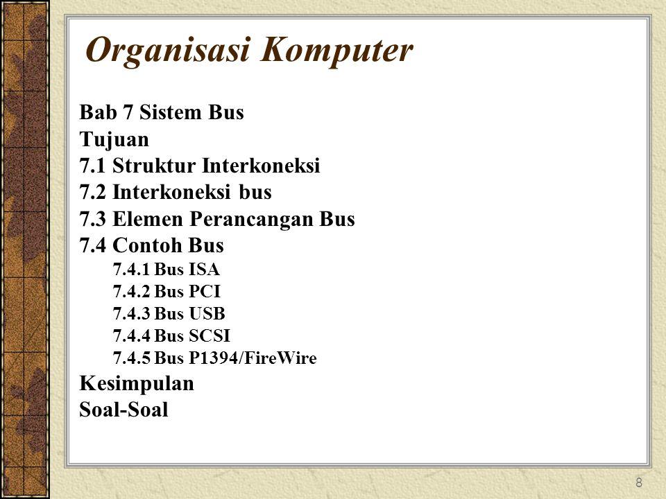 8 Organisasi Komputer Bab 7 Sistem Bus Tujuan 7.1 Struktur Interkoneksi 7.2 Interkoneksi bus 7.3 Elemen Perancangan Bus 7.4 Contoh Bus 7.4.1 Bus ISA 7