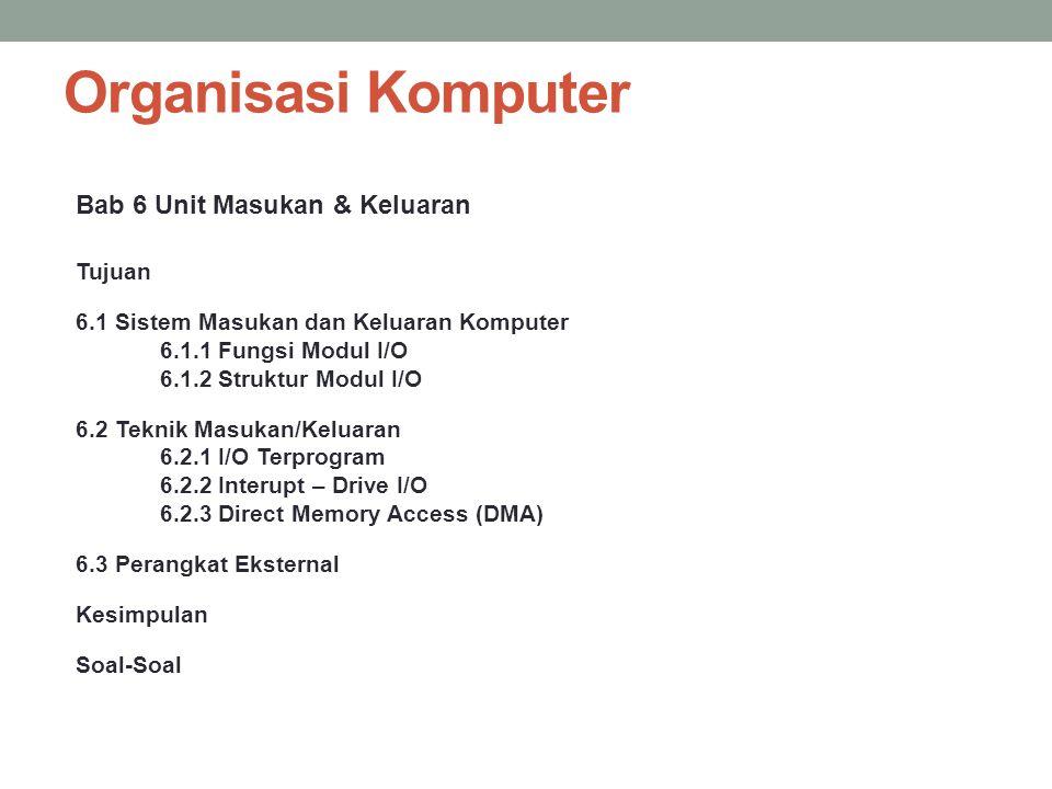 Organisasi Komputer Bab 6 Unit Masukan & Keluaran Tujuan 6.1 Sistem Masukan dan Keluaran Komputer 6.1.1 Fungsi Modul I/O 6.1.2 Struktur Modul I/O 6.2