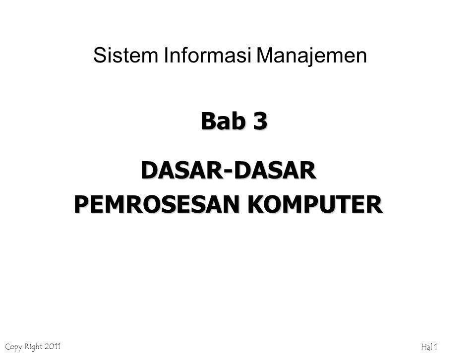 Copy Right 2011 Hal 1 Bab 3 DASAR-DASAR PEMROSESAN KOMPUTER Sistem Informasi Manajemen