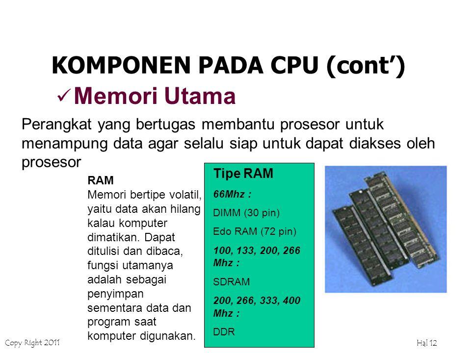 Copy Right 2011 Hal 11 Alternatif Cyrix : VIA C3 Clock Speed (MHz) : Cyrix :333, 700, 733, 750, 800, 933 KOMPONEN PADA CPU (cont') Mikroprosessor Merupakan 'Otak' dari komputer, tempat segala macam proses dilaksanakan