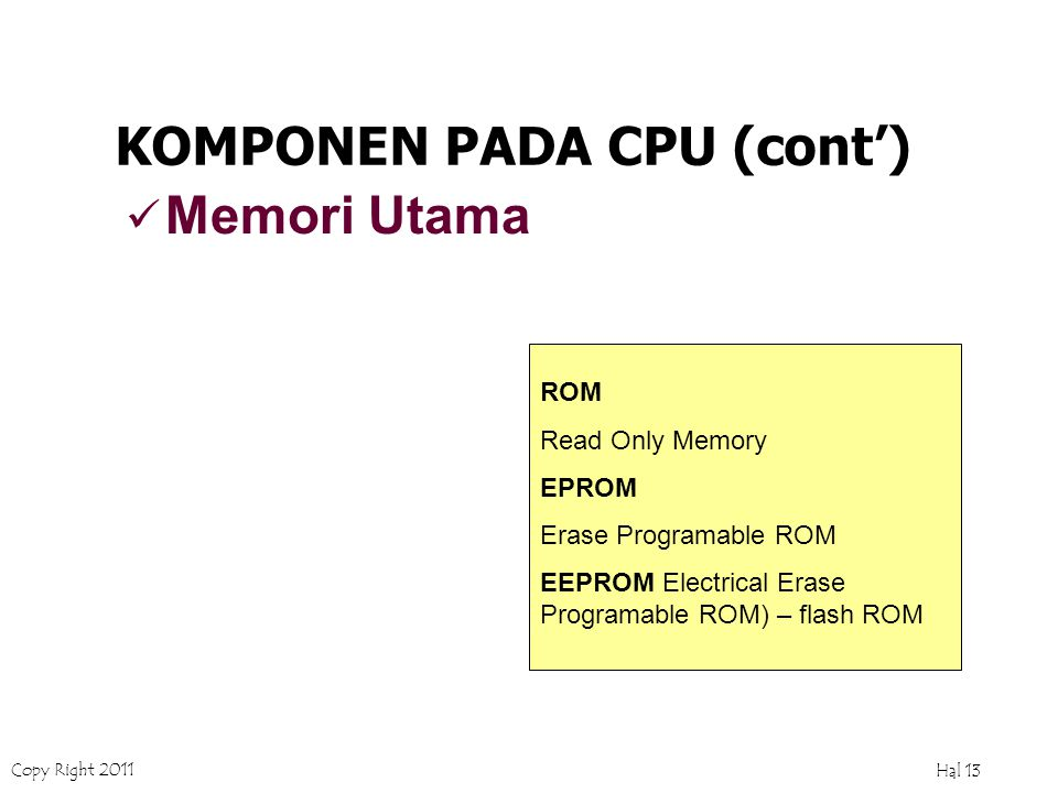 Copy Right 2011 Hal 12 Memori Utama KOMPONEN PADA CPU (cont') Perangkat yang bertugas membantu prosesor untuk menampung data agar selalu siap untuk dapat diakses oleh prosesor RAM Memori bertipe volatil, yaitu data akan hilang kalau komputer dimatikan.