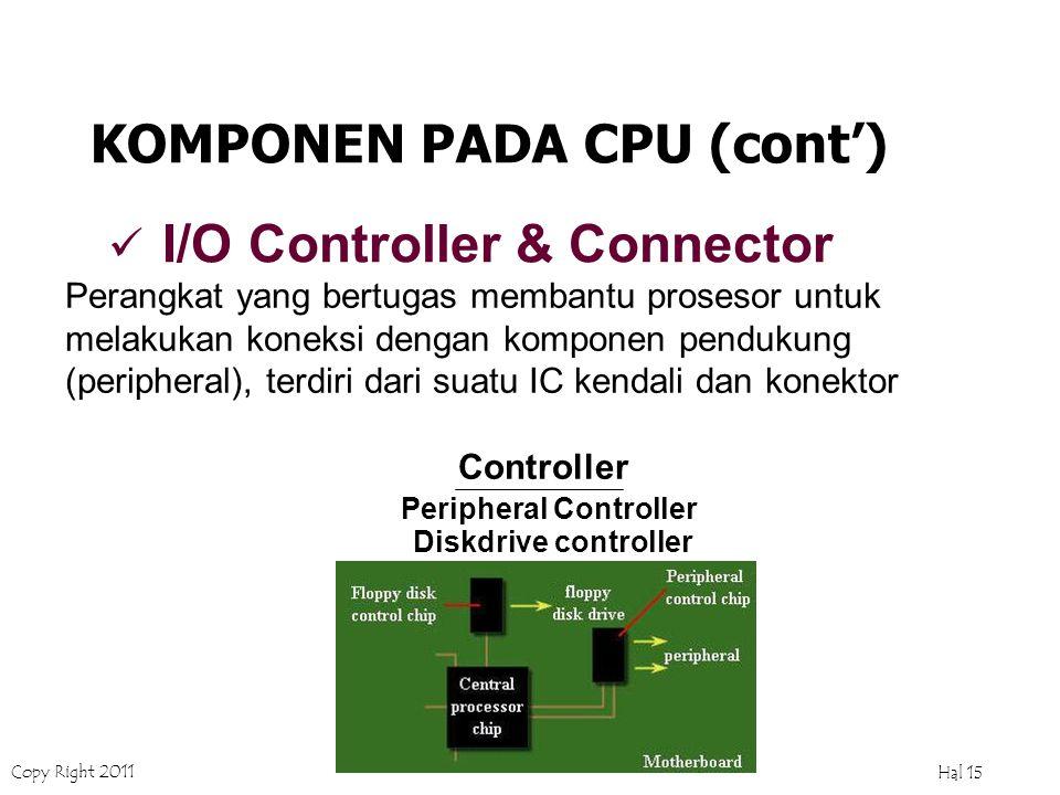 Copy Right 2011 Hal 14 ROM Memori bertipe non-volatil, yaitu data tidak akan hilang kalau komputer dimatikan.