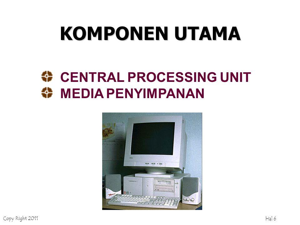 Copy Right 2011 Hal 6 KOMPONEN UTAMA CENTRAL PROCESSING UNIT MEDIA PENYIMPANAN