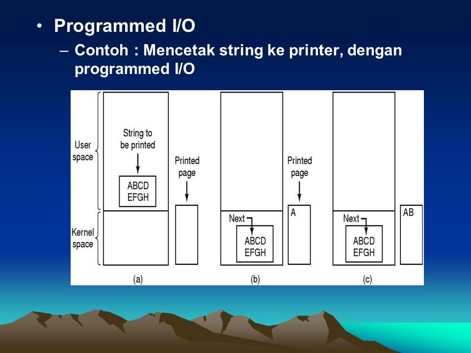 Interrupt driven I/O –Mencetak string ke printer dengan interrupt-driven I/O –Code dieksekusi saat print system call dibuat.