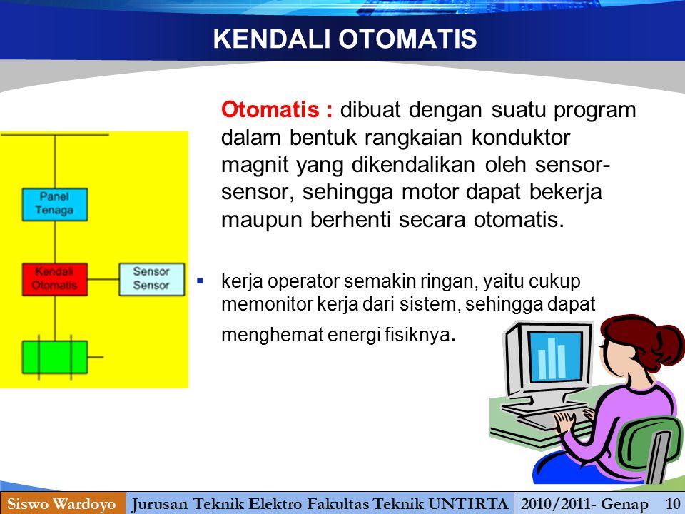 www.themegallery.com KENDALI OTOMATIS Otomatis : dibuat dengan suatu program dalam bentuk rangkaian konduktor magnit yang dikendalikan oleh sensor- se