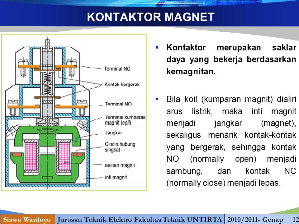 www.themegallery.com KONTAKTOR MAGNET  Kontaktor merupakan saklar daya yang bekerja berdasarkan kemagnitan.  Bila koil (kumparan magnit) dialiri aru