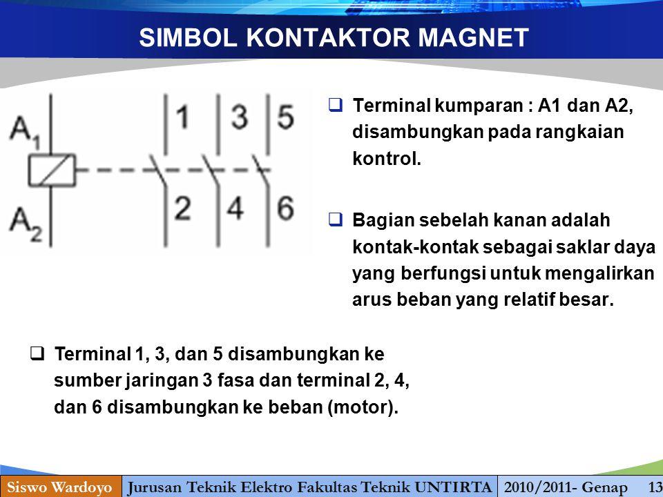 www.themegallery.com SIMBOL KONTAKTOR MAGNET  Terminal kumparan : A1 dan A2, disambungkan pada rangkaian kontrol.  Bagian sebelah kanan adalah konta