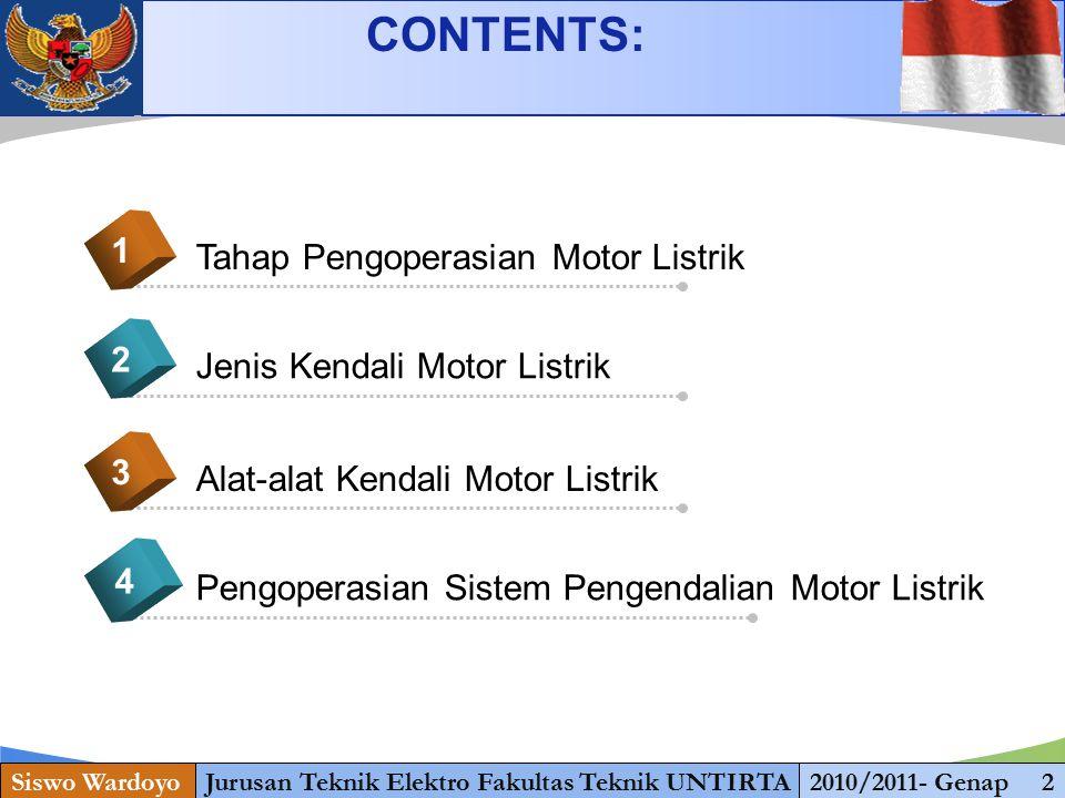www.themegallery.com KENDALI ELEKTROMAGNETIK PADA MOTOR 1.Diagram kontrol dan diagram daya Pengendali motor langsung (Direct on line) 2.Diagram kontrol dan diagram daya Pengendali motor langsung dengan TOR 3.Diagram kontrol dan diagram daya Pengendali motor putar kanan-kiri 4.Diagram kontrol dan diagram daya pengendali starter motor dengan pengasutan Y – Siswo WardoyoJurusan Teknik Elektro Fakultas Teknik UNTIRTA2010/2011- Genap 22