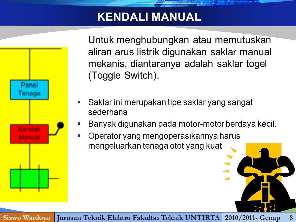 www.themegallery.com KENDALI MANUAL Untuk menghubungkan atau memutuskan aliran arus listrik digunakan saklar manual mekanis, diantaranya adalah saklar