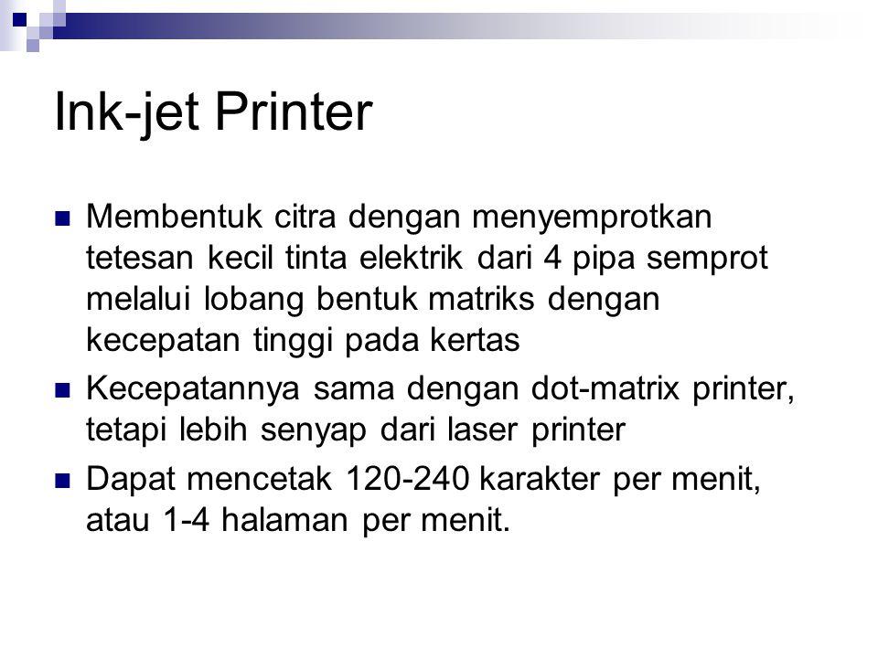 Ink-jet Printer Membentuk citra dengan menyemprotkan tetesan kecil tinta elektrik dari 4 pipa semprot melalui lobang bentuk matriks dengan kecepatan tinggi pada kertas Kecepatannya sama dengan dot-matrix printer, tetapi lebih senyap dari laser printer Dapat mencetak 120-240 karakter per menit, atau 1-4 halaman per menit.