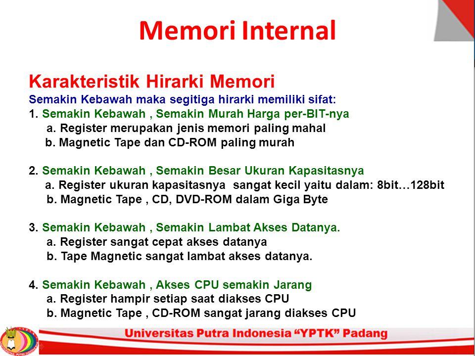 Memori Internal Karakteristik Hirarki Memori Semakin Kebawah maka segitiga hirarki memiliki sifat: 1.