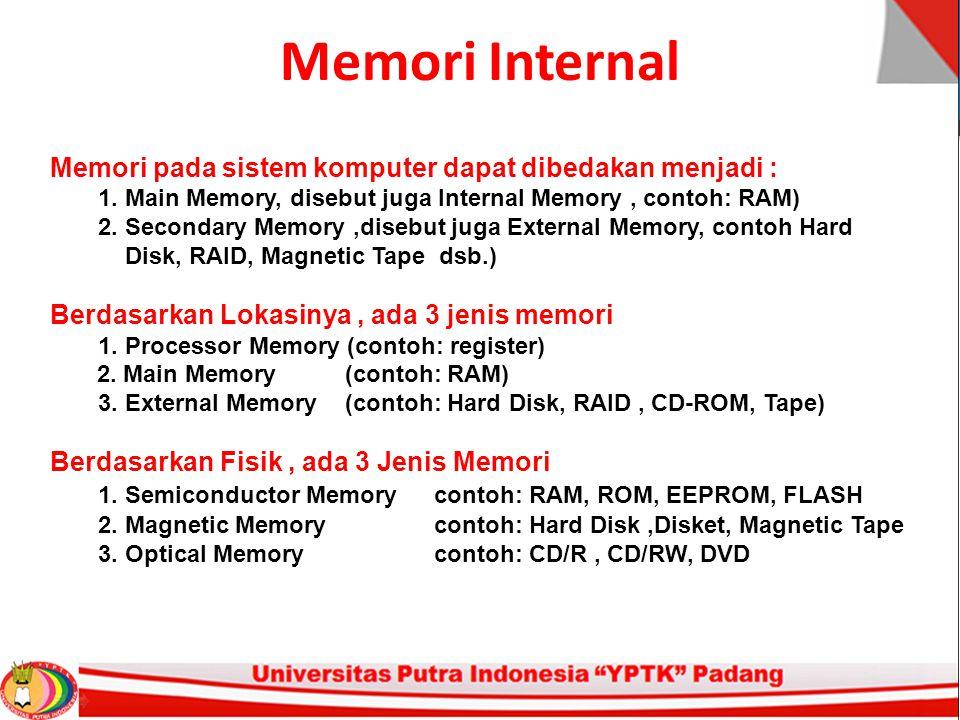 Memori Internal Memori pada sistem komputer dapat dibedakan menjadi : 1.