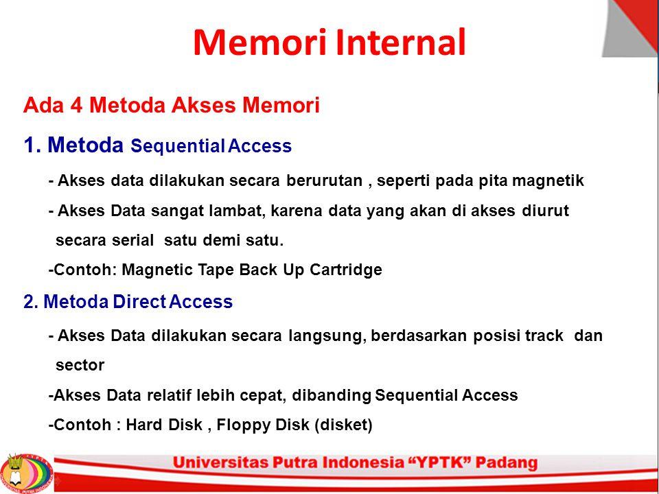 Memori Internal Ada 4 Metoda Akses Memori 1.