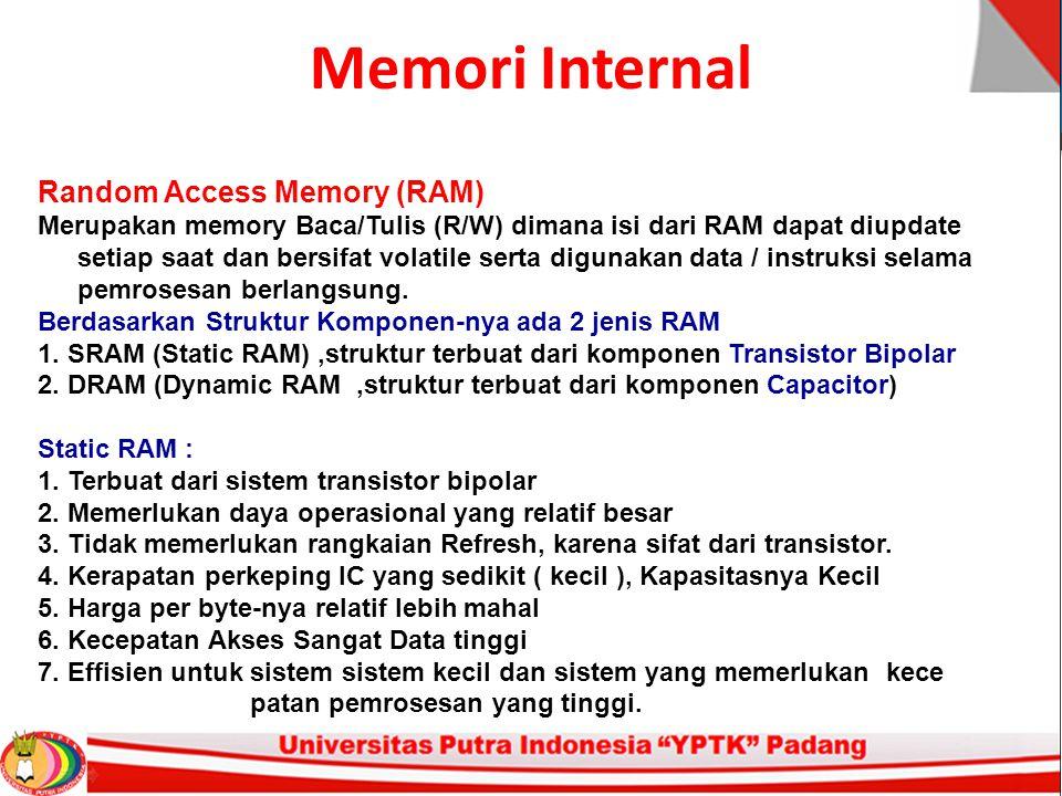 Memori Internal Random Access Memory (RAM) Merupakan memory Baca/Tulis (R/W) dimana isi dari RAM dapat diupdate setiap saat dan bersifat volatile serta digunakan data / instruksi selama pemrosesan berlangsung.