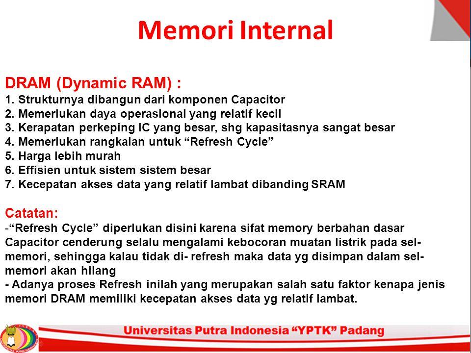 Memori Internal DRAM (Dynamic RAM) : 1. Strukturnya dibangun dari komponen Capacitor 2.