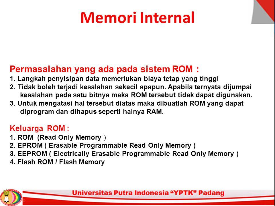 Memori Internal Permasalahan yang ada pada sistem ROM : 1.