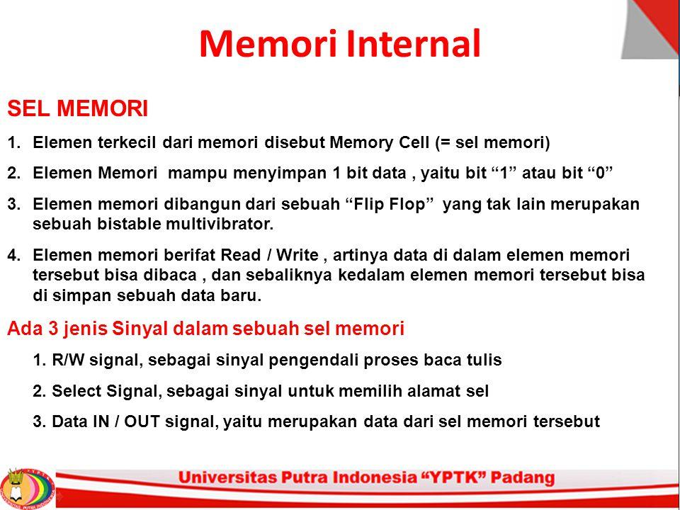 Memori Internal SEL MEMORI 1.Elemen terkecil dari memori disebut Memory Cell (= sel memori) 2.Elemen Memori mampu menyimpan 1 bit data, yaitu bit 1 atau bit 0 3.Elemen memori dibangun dari sebuah Flip Flop yang tak lain merupakan sebuah bistable multivibrator.