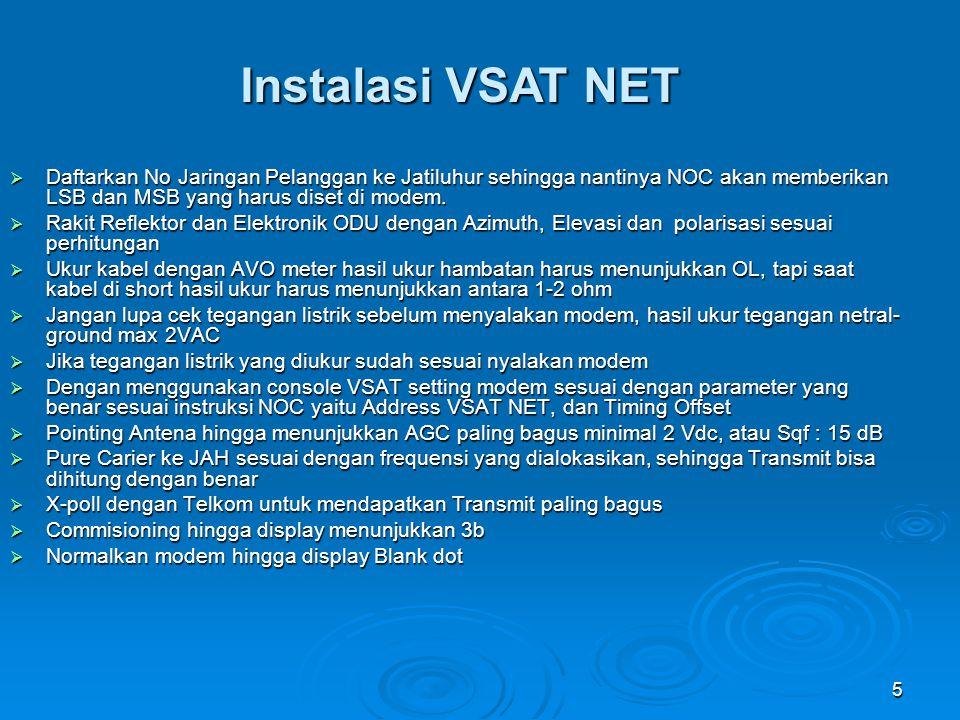 5 Instalasi VSAT NET  Daftarkan No Jaringan Pelanggan ke Jatiluhur sehingga nantinya NOC akan memberikan LSB dan MSB yang harus diset di modem.  Rak