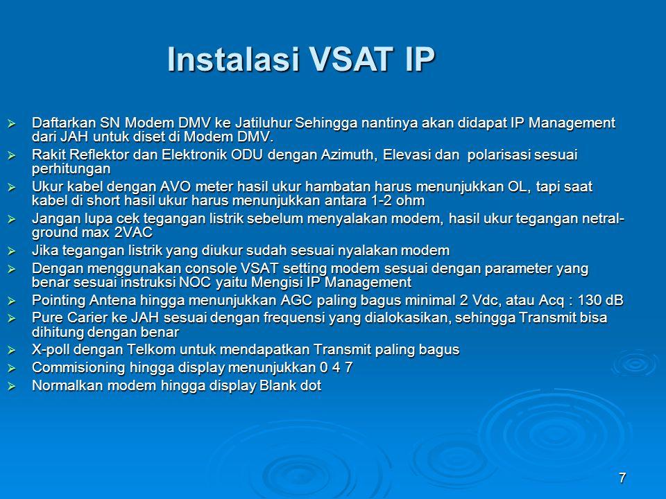 7 Instalasi VSAT IP  Daftarkan SN Modem DMV ke Jatiluhur Sehingga nantinya akan didapat IP Management dari JAH untuk diset di Modem DMV.  Rakit Refl