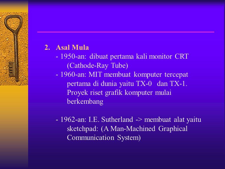 2.Asal Mula - 1950-an: dibuat pertama kali monitor CRT (Cathode-Ray Tube) - 1960-an: MIT membuat komputer tercepat pertama di dunia yaitu TX-0 dan TX-1.