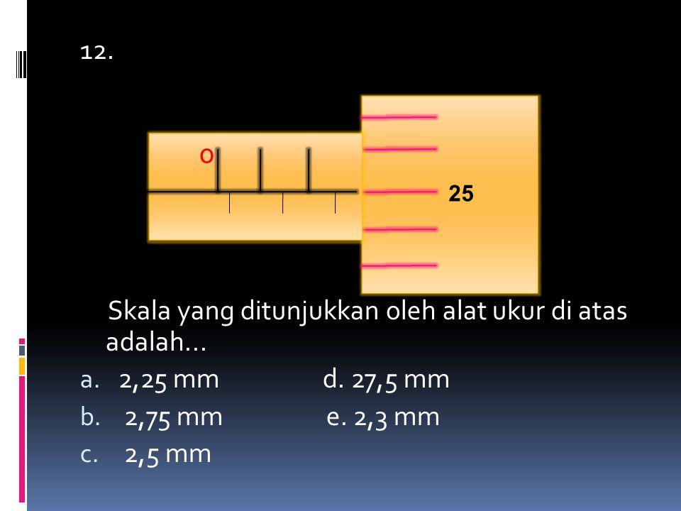 12. Skala yang ditunjukkan oleh alat ukur di atas adalah... a. 2,25 mm d. 27,5 mm b. 2,75 mm e. 2,3 mm c. 2,5 mm 25 0