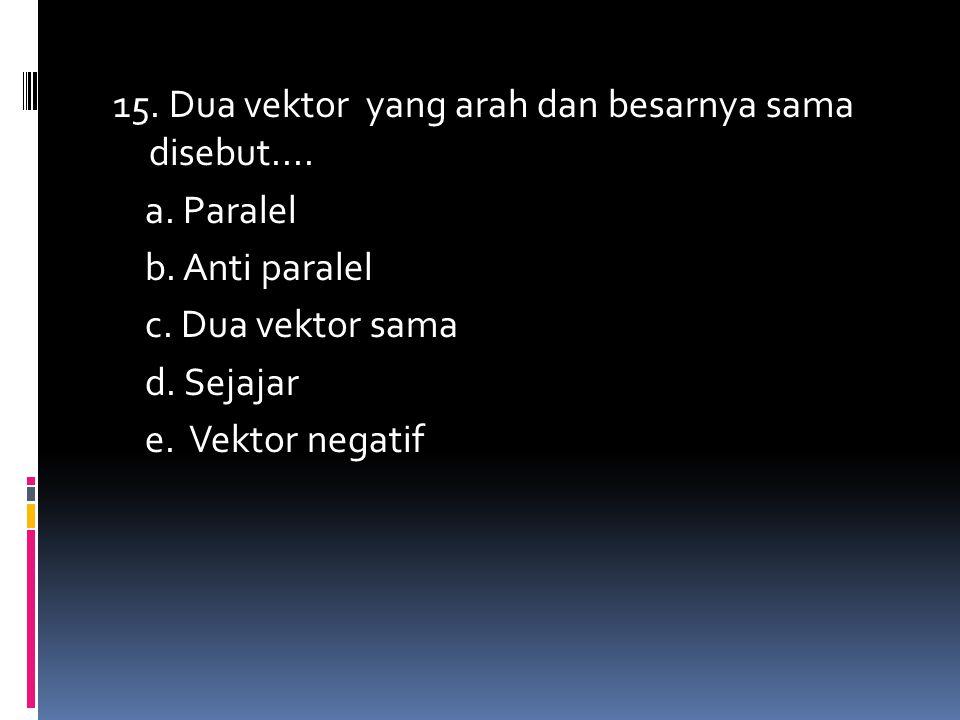 15. Dua vektor yang arah dan besarnya sama disebut.... a. Paralel b. Anti paralel c. Dua vektor sama d. Sejajar e. Vektor negatif