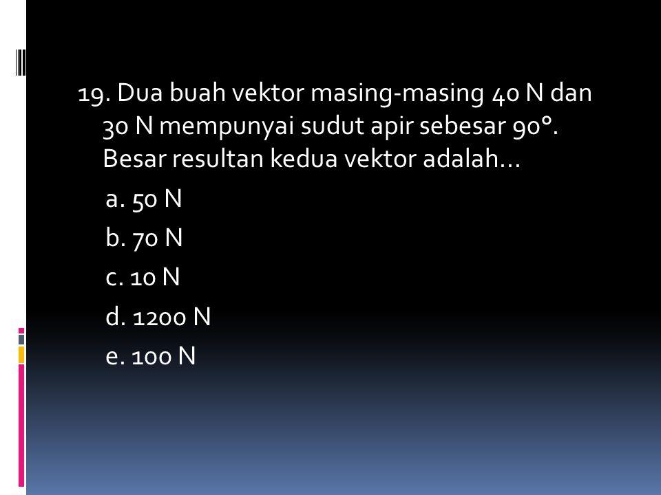 19. Dua buah vektor masing-masing 40 N dan 30 N mempunyai sudut apir sebesar 90°. Besar resultan kedua vektor adalah... a. 50 N b. 70 N c. 10 N d. 120