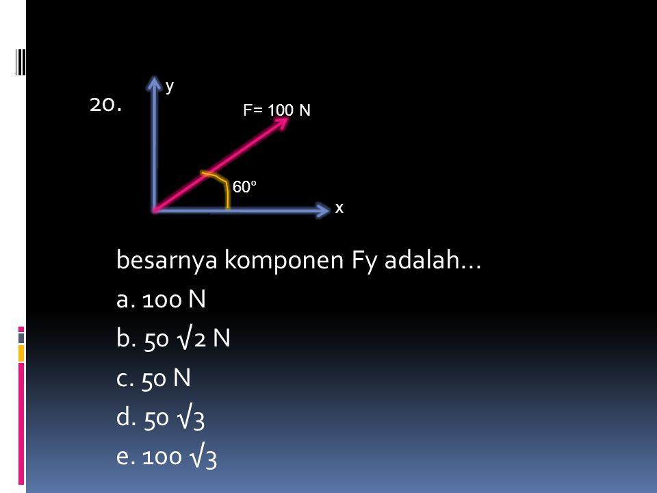 20. besarnya komponen Fy adalah... a. 100 N b. 50 √2 N c. 50 N d. 50 √3 e. 100 √3 y x F= 100 N 60°