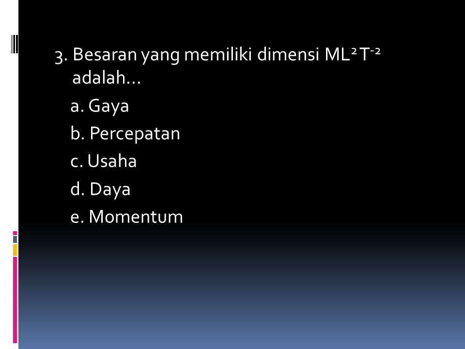 3. Besaran yang memiliki dimensi ML 2 T -2 adalah... a. Gaya b. Percepatan c. Usaha d. Daya e. Momentum