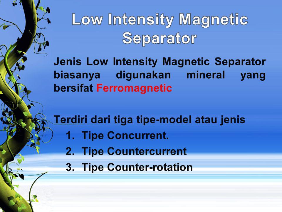 Jenis Low Intensity Magnetic Separator biasanya digunakan mineral yang bersifat Ferromagnetic Terdiri dari tiga tipe-model atau jenis 1.Tipe Concurren