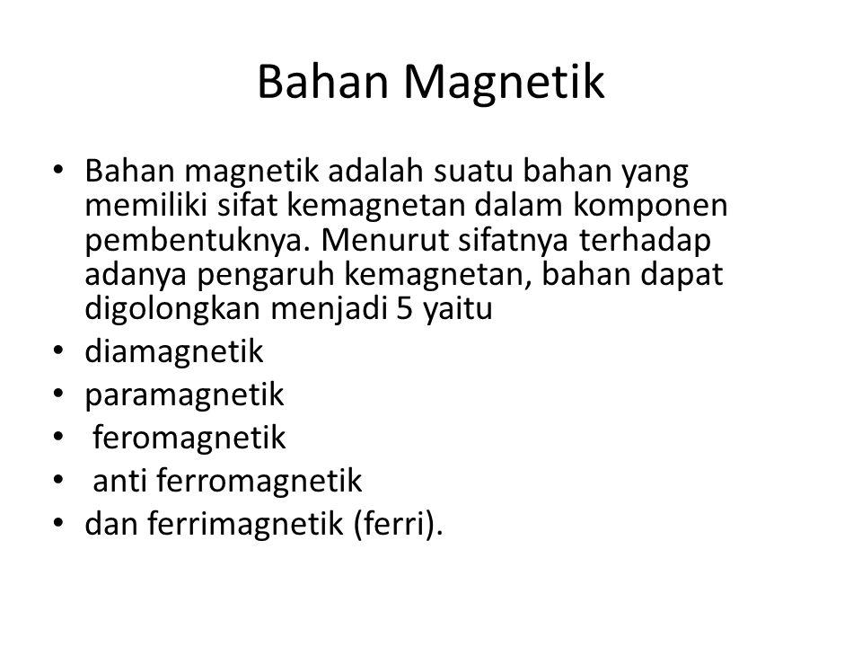 Bahan Magnetik Bahan magnetik adalah suatu bahan yang memiliki sifat kemagnetan dalam komponen pembentuknya.