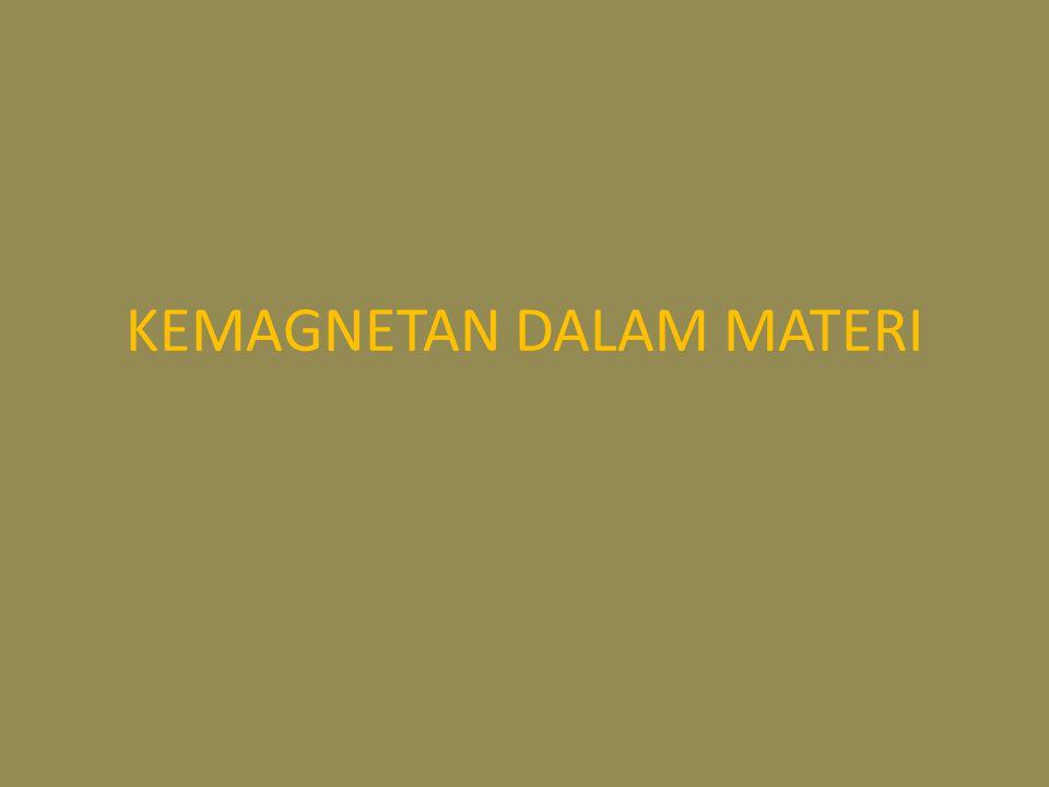 Vektor magnetisasi dan kuat medan magnetik Keadaan magnetik materi digambarkan oleh vektor magnetisasi M Besar magnetisasi didefinisikan sebagai momen magnetik per satuan volume.