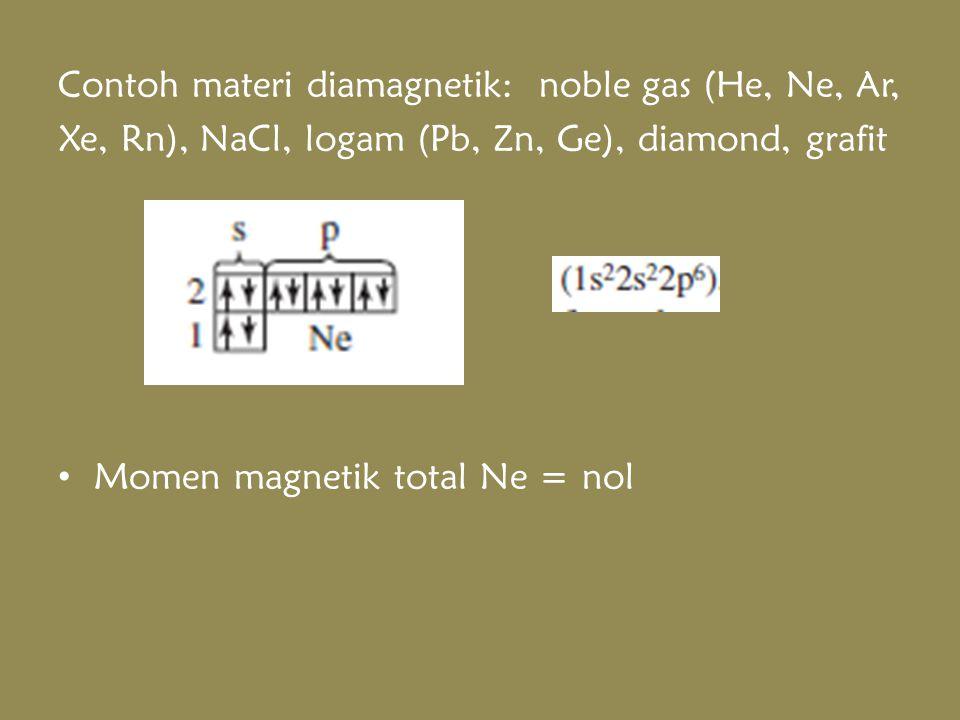 Contoh materi diamagnetik: noble gas (He, Ne, Ar, Xe, Rn), NaCl, logam (Pb, Zn, Ge), diamond, grafit Momen magnetik total Ne = nol