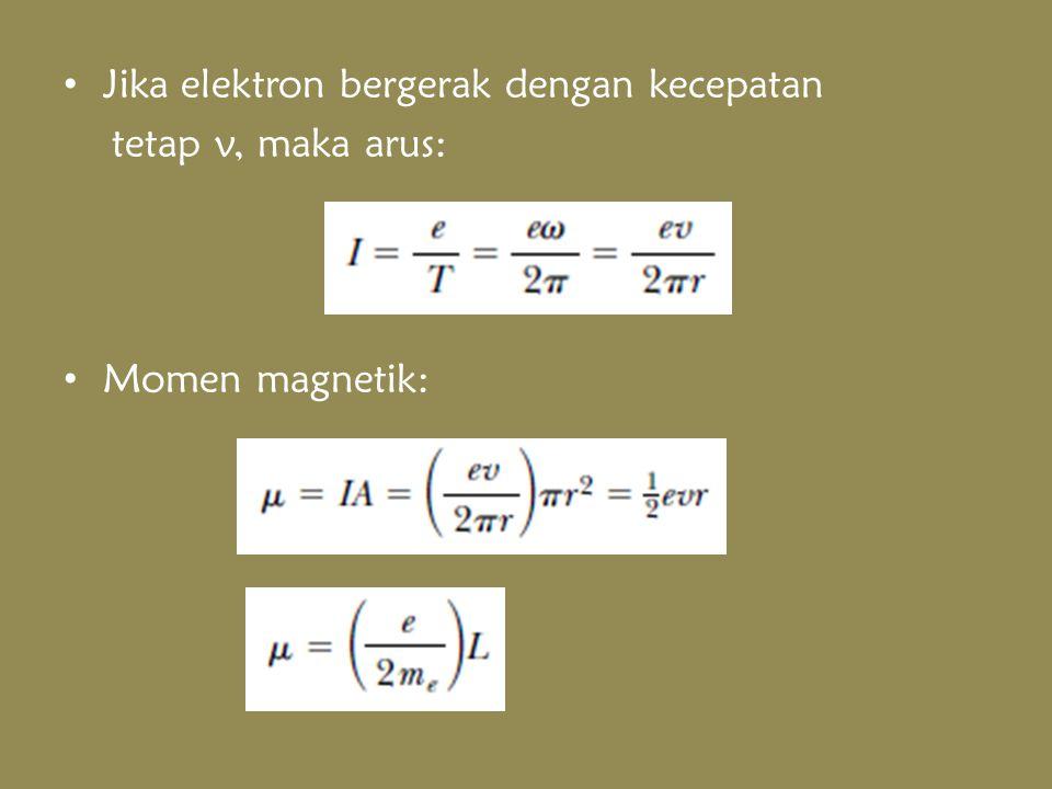 Jika elektron bergerak dengan kecepatan tetap v, maka arus: Momen magnetik: