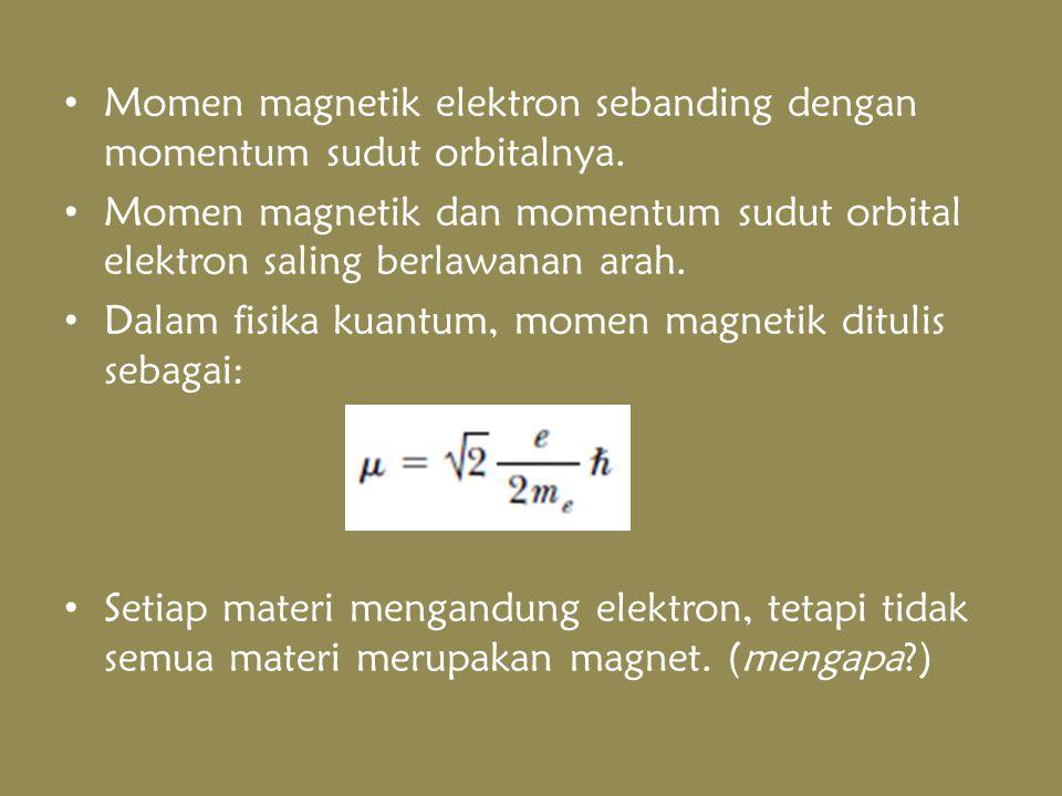 Spin Sifat intrinsik elektron yang berkontribusi terhadap momen magnetik Perputaran elektron pada sumbunya momentum sudut spin Momen magnetik spin elektron: