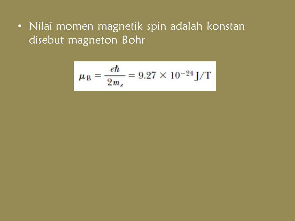 Nilai momen magnetik spin adalah konstan disebut magneton Bohr