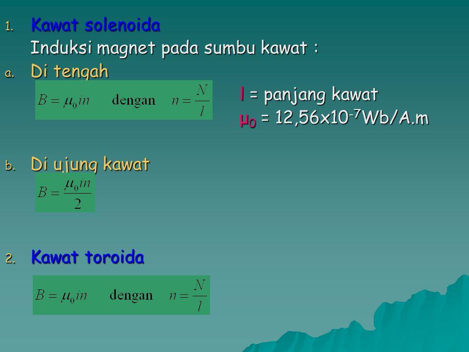 1. Kawat solenoida Induksi magnet pada sumbu kawat : a. Di tengah l = panjang kawat μ 0 = 12,56x10 -7 Wb/A.m b. Di ujung kawat 2. Kawat toroida