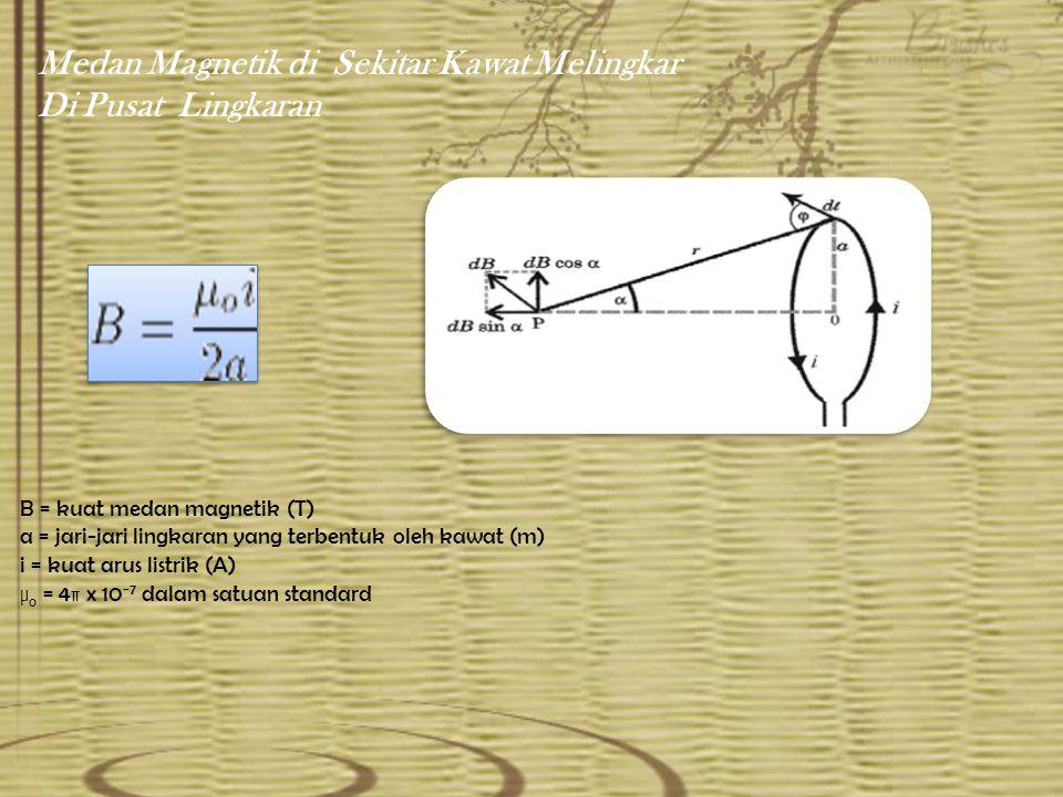 Medan Magnetik di Sekitar Kawat Melingkar Di Pusat Lingkaran B = kuat medan magnetik (T) a = jari-jari lingkaran yang terbentuk oleh kawat (m) i = kuat arus listrik (A) μ o = 4π x 10 −7 dalam satuan standard