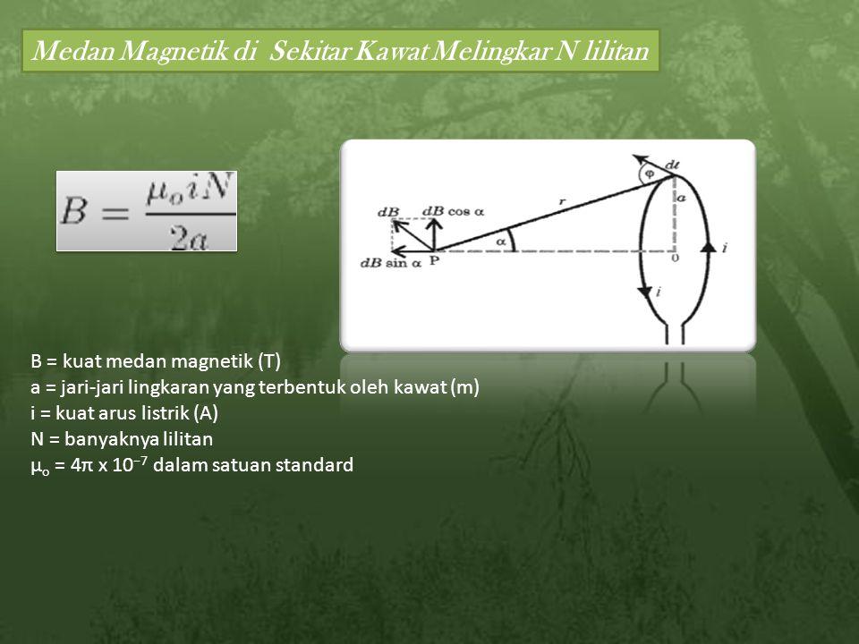Medan Magnetik di Sekitar Kawat Melingkar N lilitan B = kuat medan magnetik (T) a = jari-jari lingkaran yang terbentuk oleh kawat (m) i = kuat arus listrik (A) N = banyaknya lilitan μ o = 4π x 10 −7 dalam satuan standard